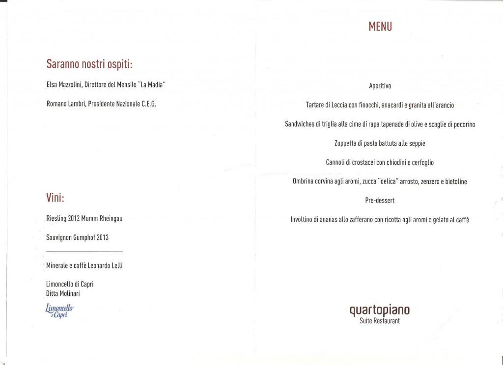 Menù Auguri -Al Quarto Piano Restaurant Suite